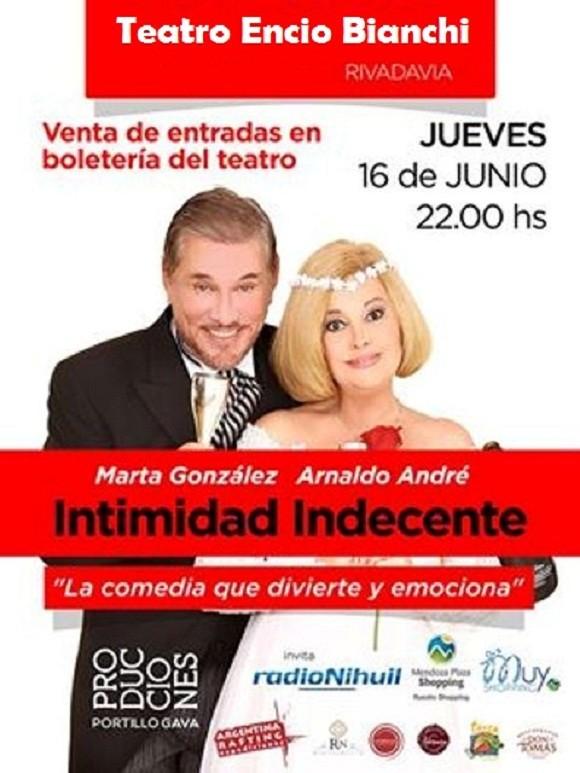 """Marta González y Arnaldo André presentarán """"Intimidad Indecente"""" en el Teatro Encio Bianchi"""