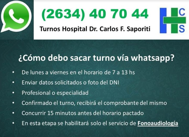 El Hospital Saporiti incorpora turnos por Whatsapp