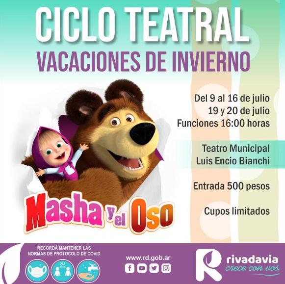 Ciclo teatral de vacaciones de invierno, en Rivadavia