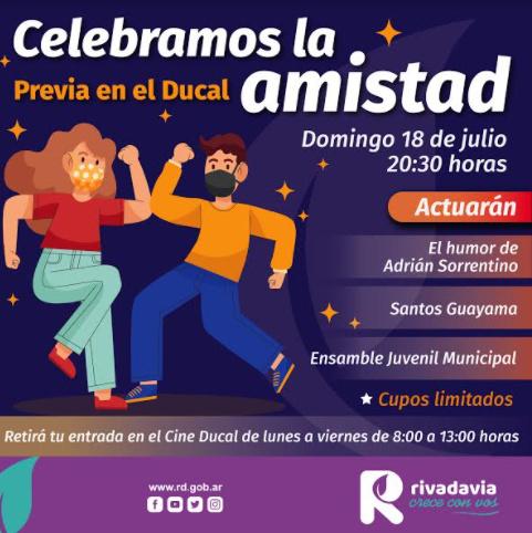 Rivadavia celebra la amistad con un espectáculo de música y humor