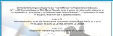 Rivadavia: acto oficial e inauguración en el aniversario de fallecimiento del General San Martín