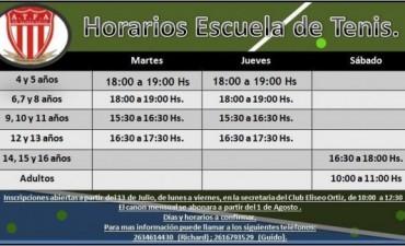 Horarios de la Escuela de Tenis del Club Eliseo Ortiz para la temporada 2015