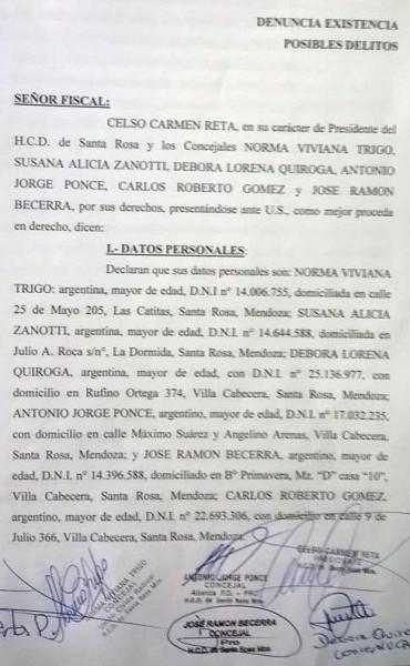 Salgado, denunciado por el HCD en la Fiscalía de Santa Rosa