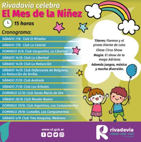 Rivadavia festeja el mes de la niñez con cine, títeres, teatro y circo