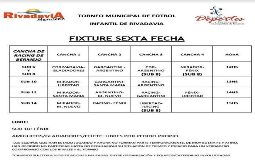 Sexta fecha del torneo municipal de fútbol infantil